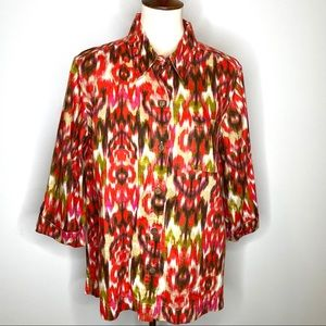 Jones New York Ikat Linen Lagenlook Blouse Sz XL